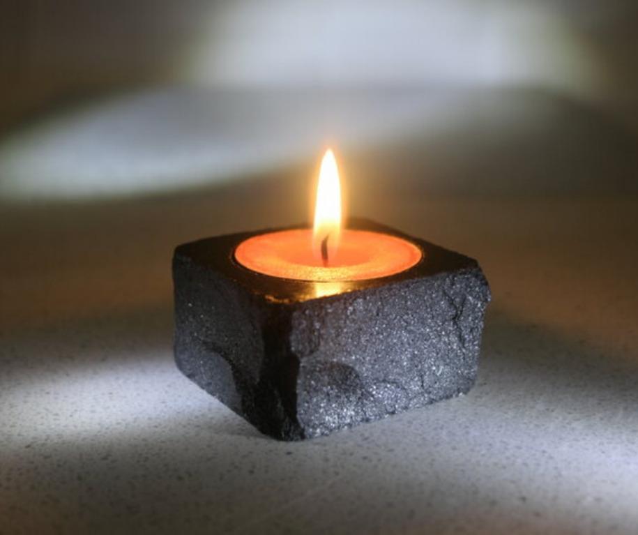 handmade stone candle holder